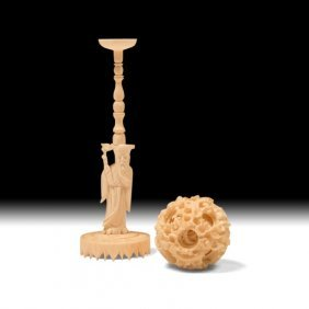 Chinese Carved Bone Puzzle Ball On Stand