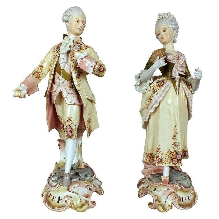 Pair of 1920s Rare Meissen Porcelain Figurines
