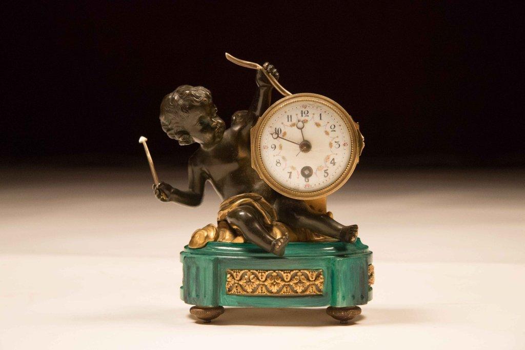 19th Century Petit Clock with Cupid