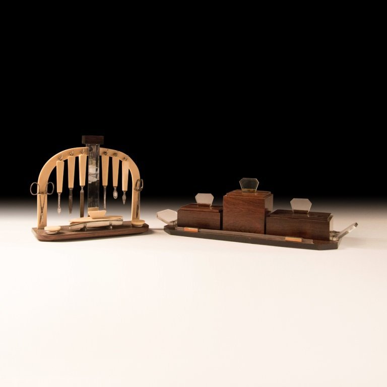 1920's Art Deco-style Macassar Wood Toiletries