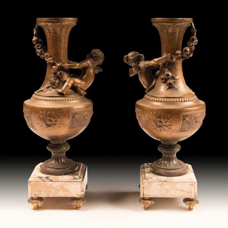 Pair of 19th Century Vases with Cherubs - 2