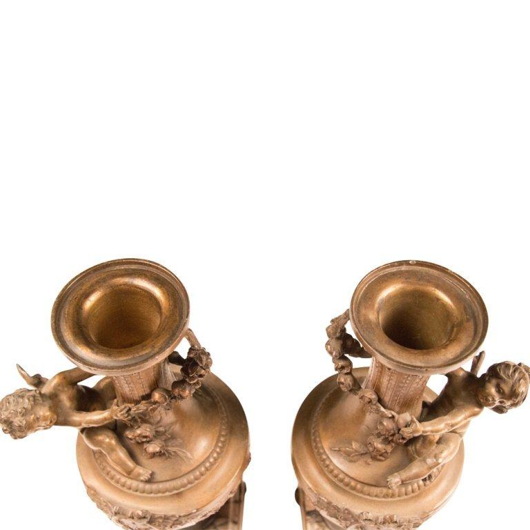 Pair of 19th Century Vases with Cherubs - 5