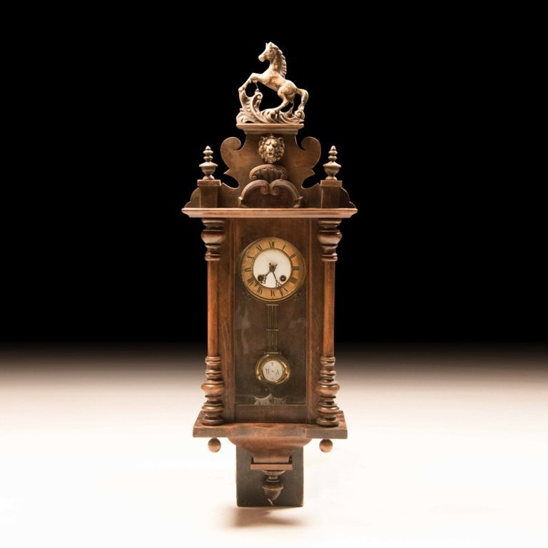 Henry II-style Antique Walnut Wall Clock