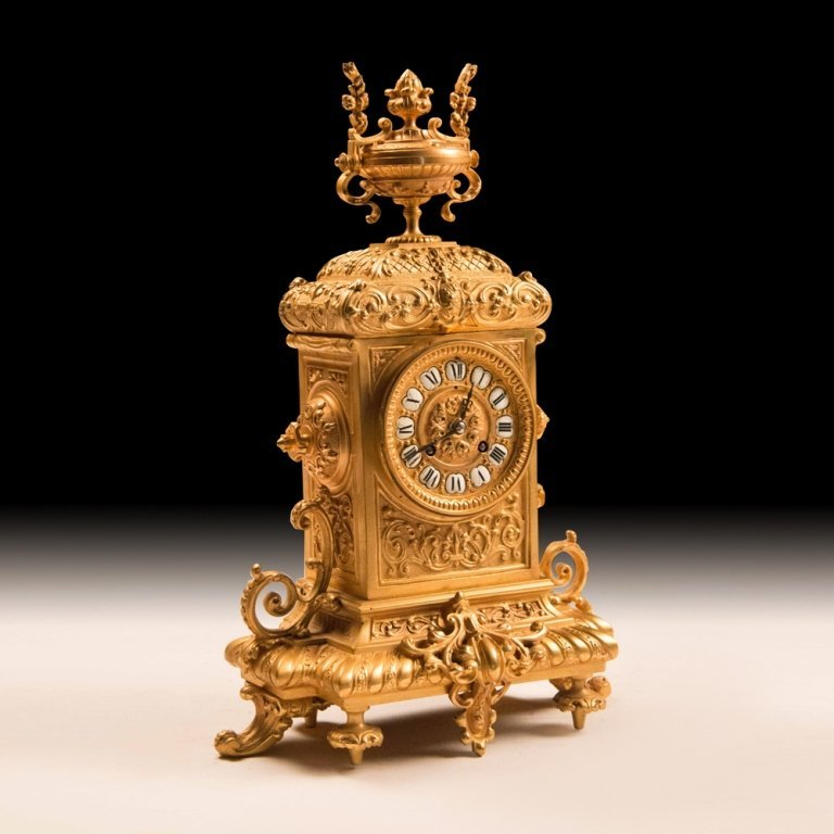 19th Century Bronze w/24K Gold French Mantle Clock