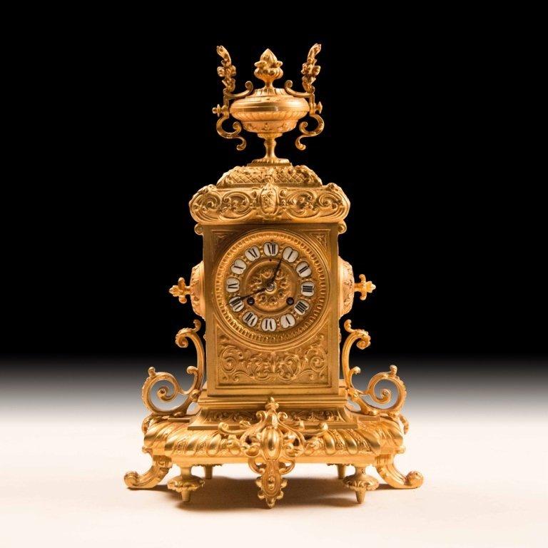 19th Century Bronze w/24K Gold French Mantle Clock - 2