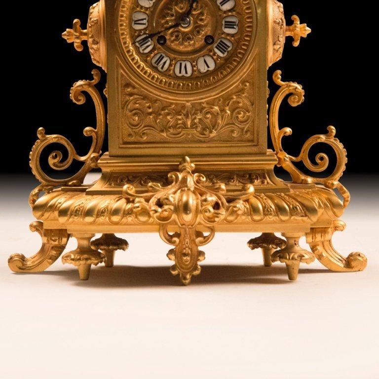 19th Century Bronze w/24K Gold French Mantle Clock - 3