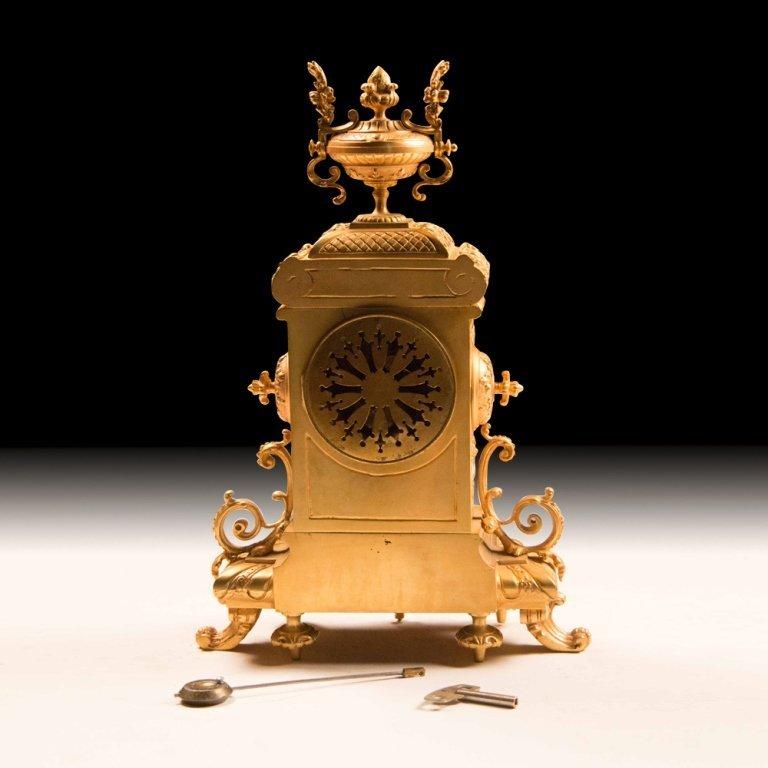 19th Century Bronze w/24K Gold French Mantle Clock - 6