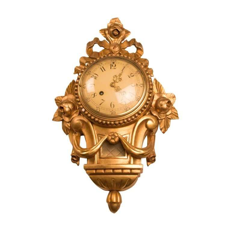 19th Century Gilded Wood French Wall Clock
