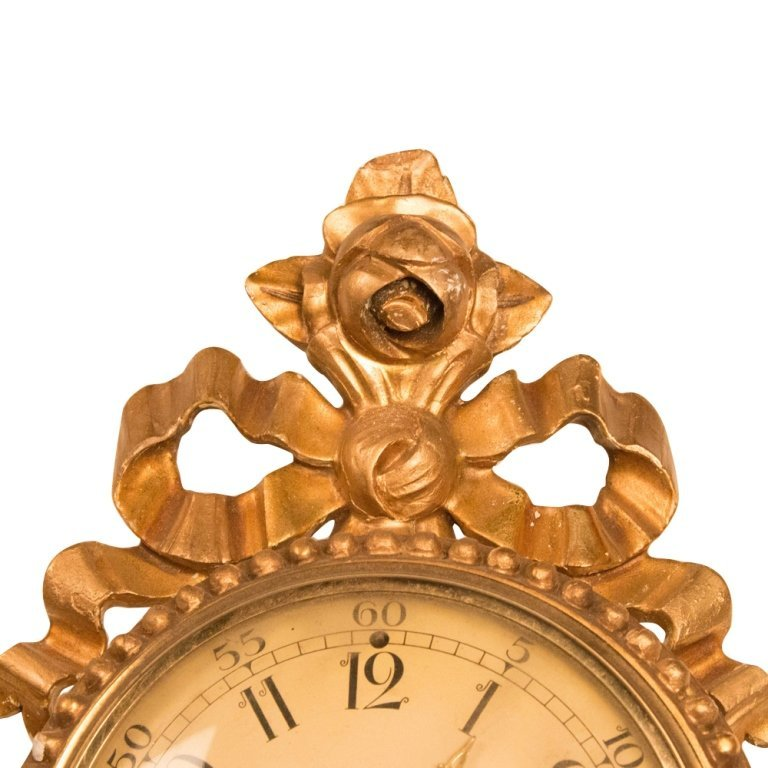 19th Century Gilded Wood French Wall Clock - 3