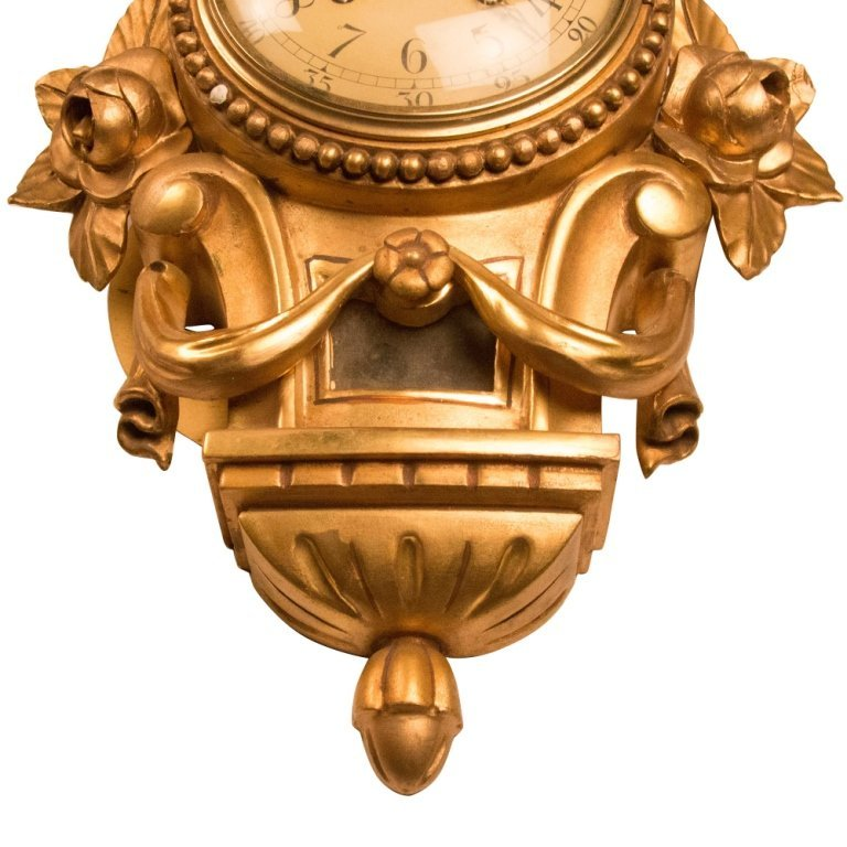 19th Century Gilded Wood French Wall Clock - 4
