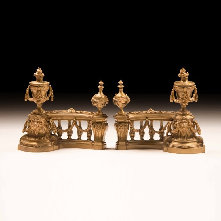 Pair of Fireplace Chenets Louis XVI-style