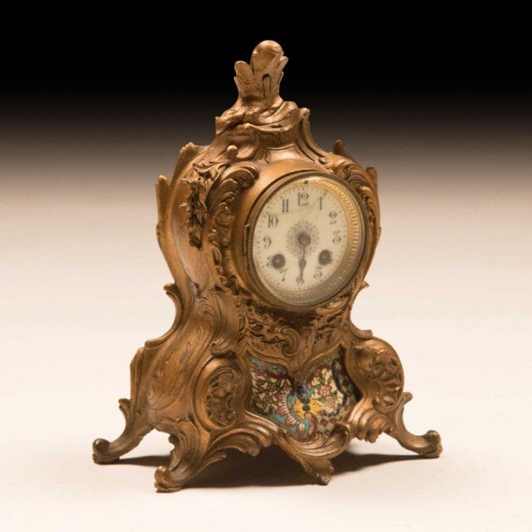 Louis XVI-style Bronze and Cloisonne Mantle Clock - 2