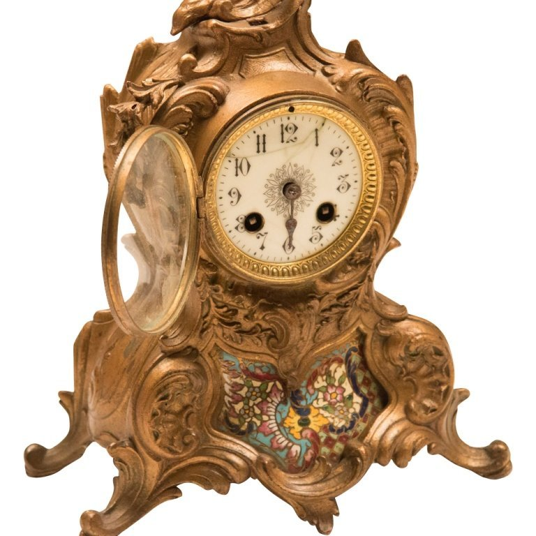 Louis XVI-style Bronze and Cloisonne Mantle Clock - 3