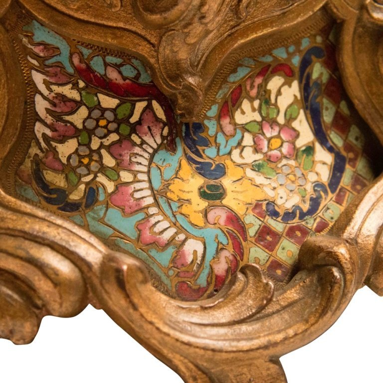 Louis XVI-style Bronze and Cloisonne Mantle Clock - 4