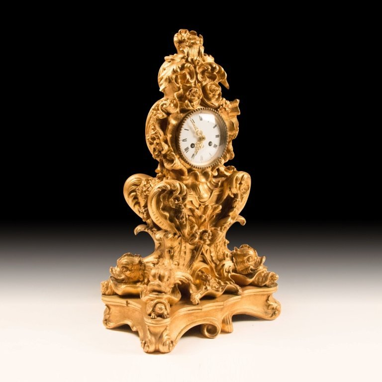 French Rococo-style Gold Plated Mantle Clock