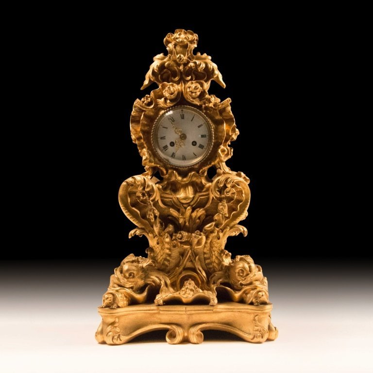 French Rococo-style Gold Plated Mantle Clock - 2