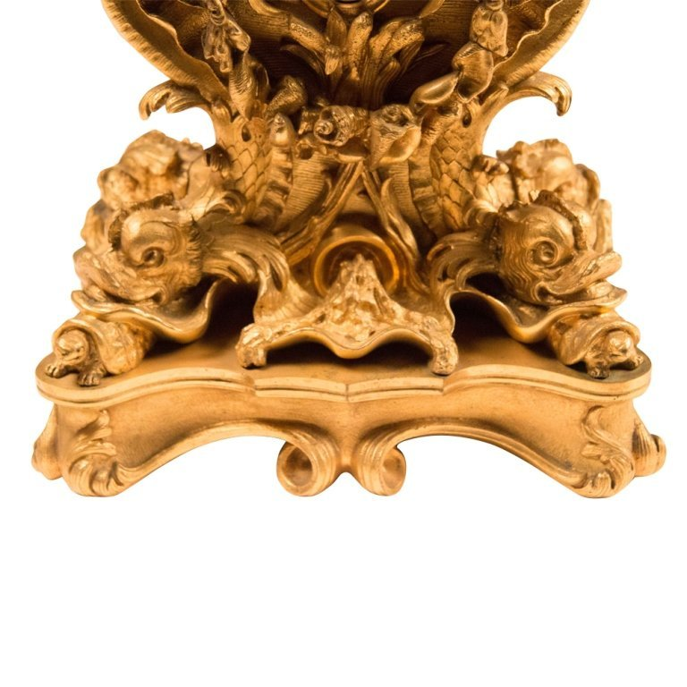 French Rococo-style Gold Plated Mantle Clock - 4