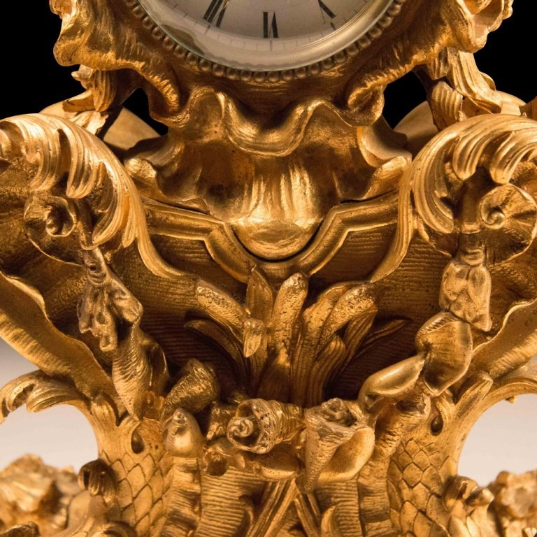 French Rococo-style Gold Plated Mantle Clock - 5