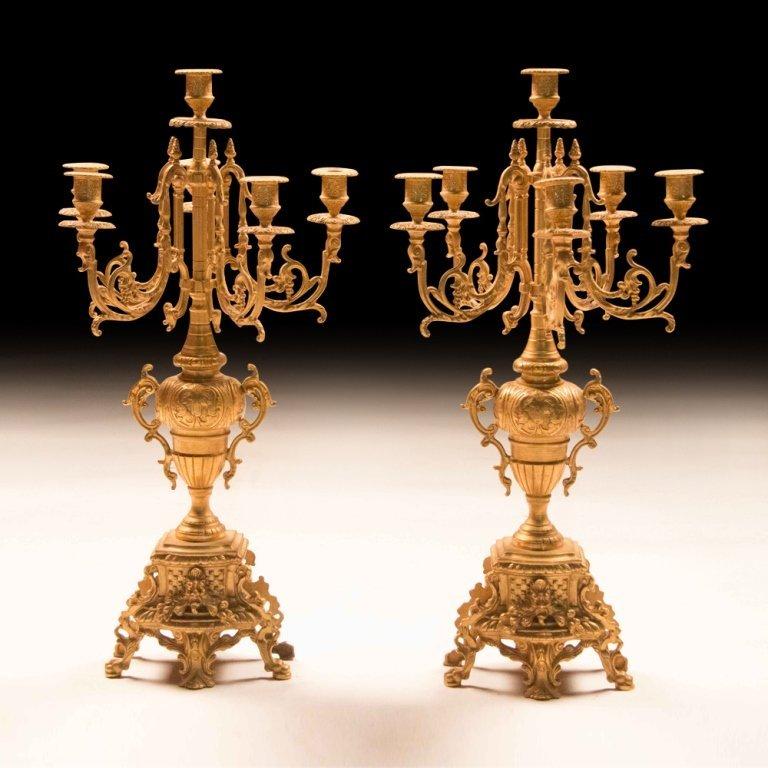 Louis XVI-style Bronze Gold Plating Candelabras