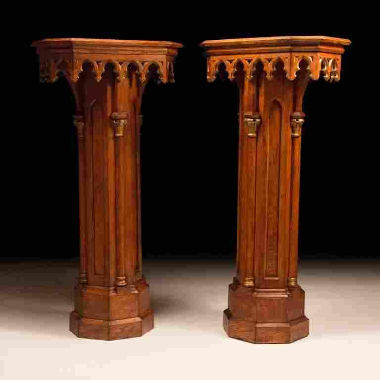 Pair of Gothic Revival-style Oak Wood Pedestals