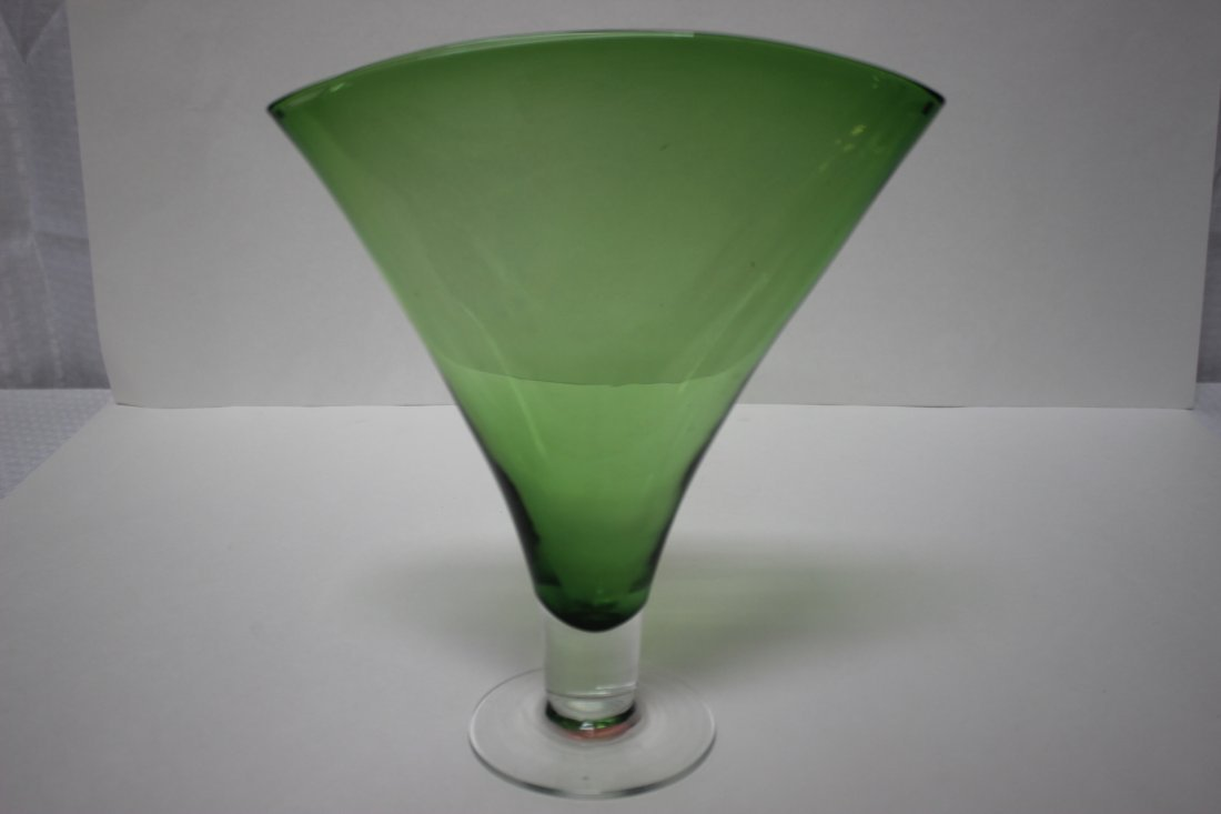 Blenko Green Art Glass  Fan Vase