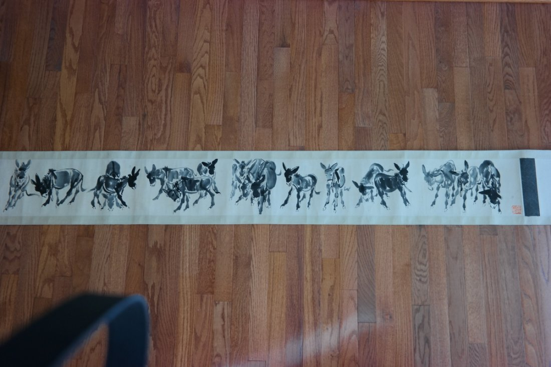 Chinese 17 donkeys painting by 'Huang zhou(1925-1997)'