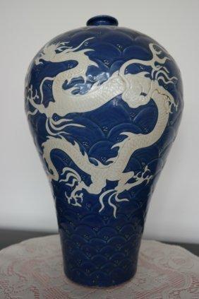 Chinese porcelain Jar , 2 big Dragons  on powder blue