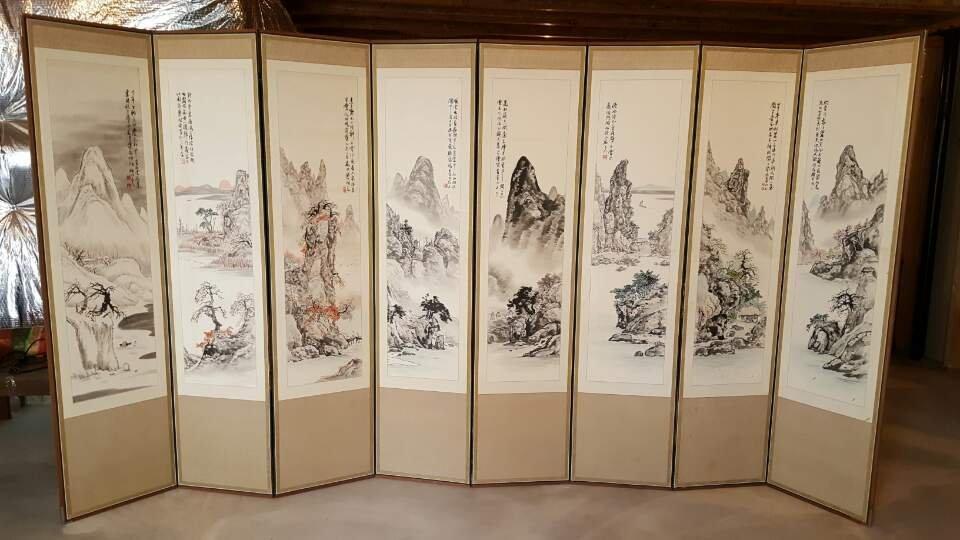 Korean painting '4 seasons' by Asan Jobangwon(1924-2014