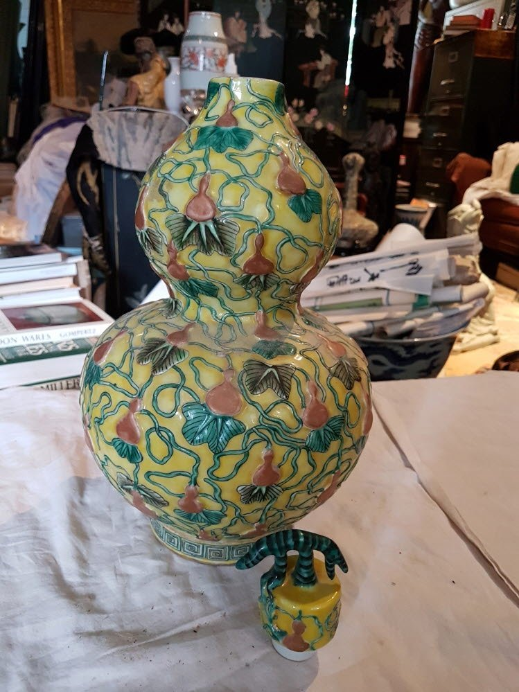 Chinese yellow vase from Qing dynasty
