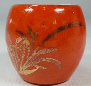 Chinese Red Glaze Jar with Bird