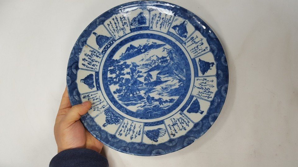 Chinese blue scenery plate Qing dynasty - 4