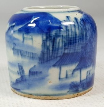 Chinese Blue and White Jar with Landscape