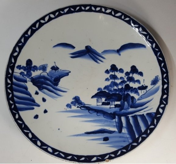 Chinese blue and white scenery plate