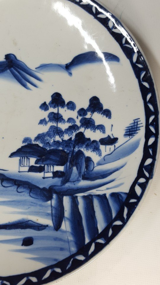 Chinese blue and white scenery plate - 2