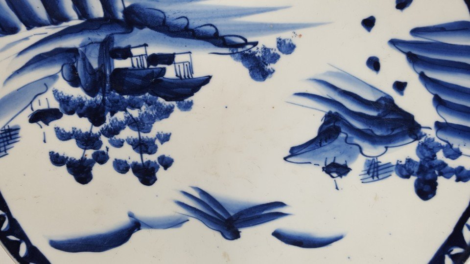 Chinese blue and white scenery plate - 3