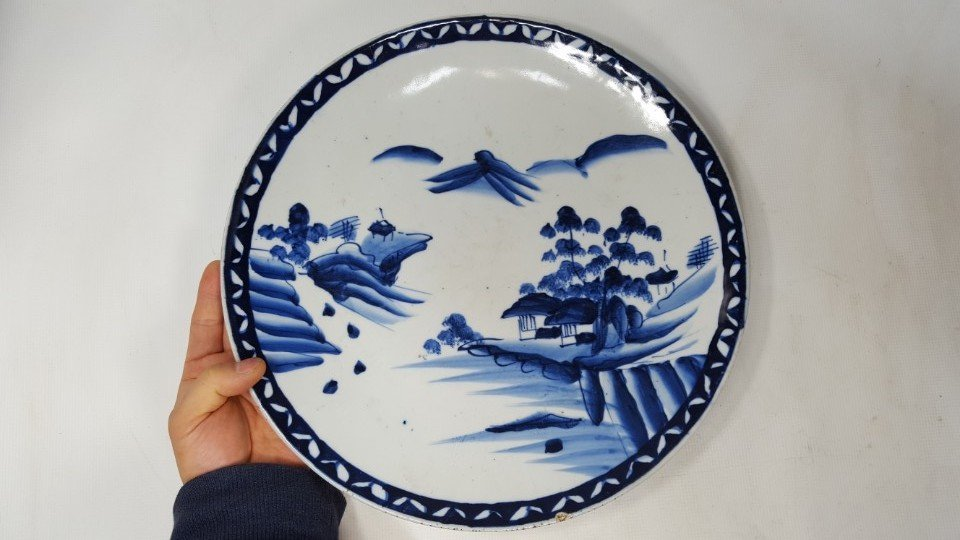 Chinese blue and white scenery plate - 5
