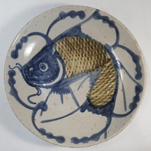 Chinese fish porcelain plate from Qing dynasty