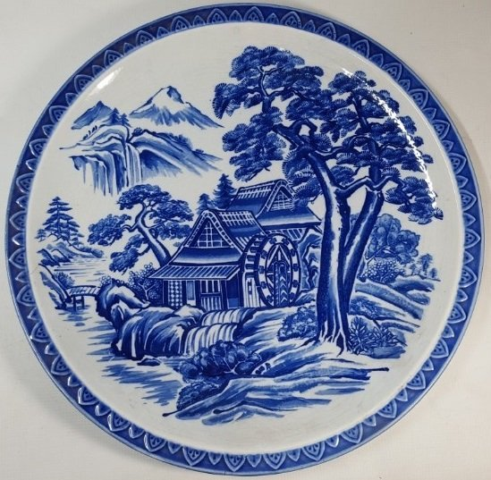 Chinese blue scenery plate