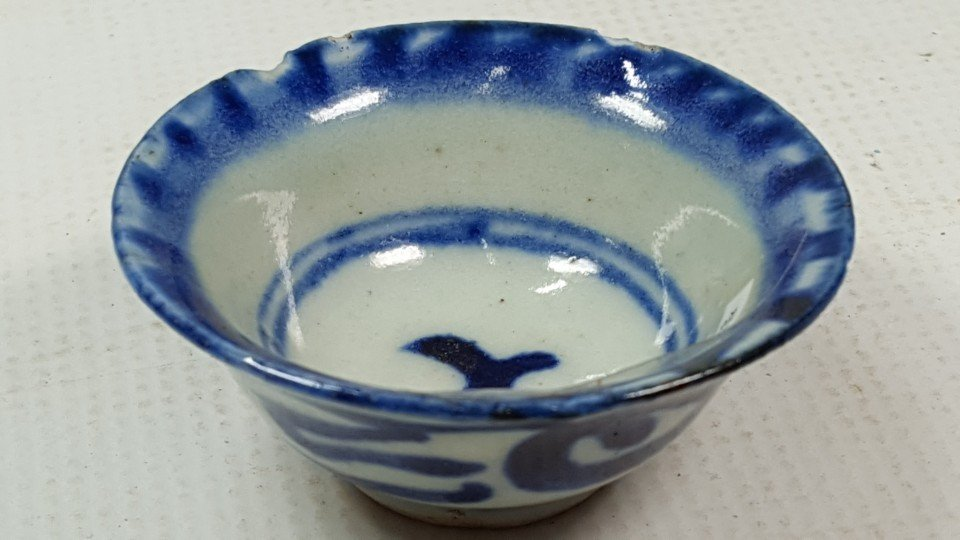 Chinese Blue and White Cup in Flower Pattern