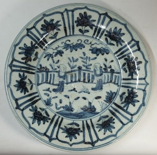 Chinese blue monk porcelain plate from Qing dynasty