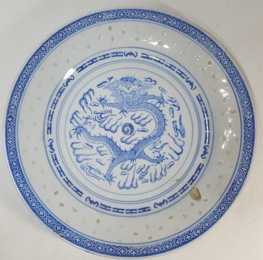 Chinese blue and white dragon porcelain plate