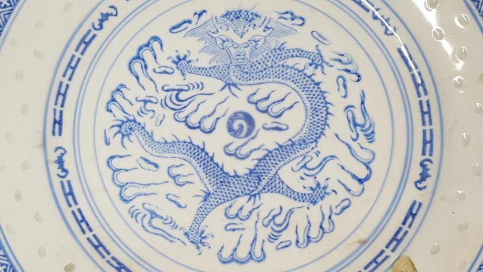 Chinese blue and white dragon porcelain plate - 3
