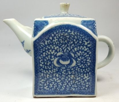 Chinese Blue and White Lotus Teapot