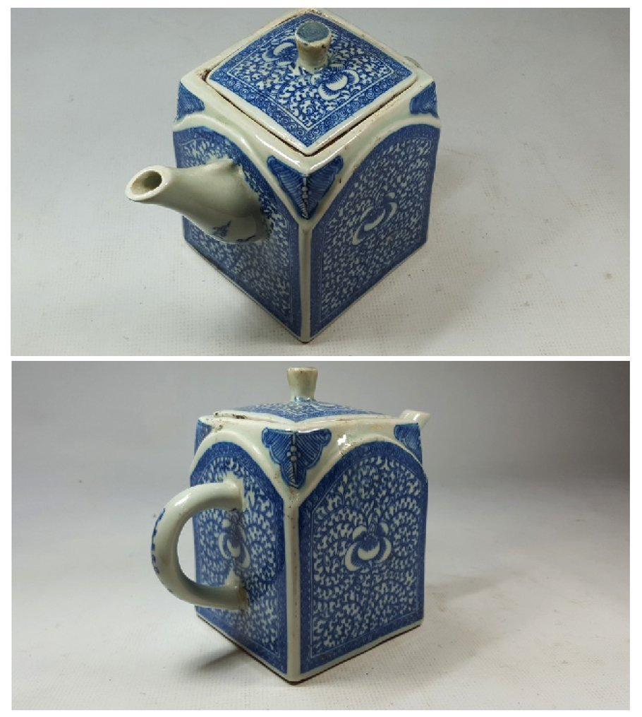 Chinese Blue and White Lotus Teapot - 4