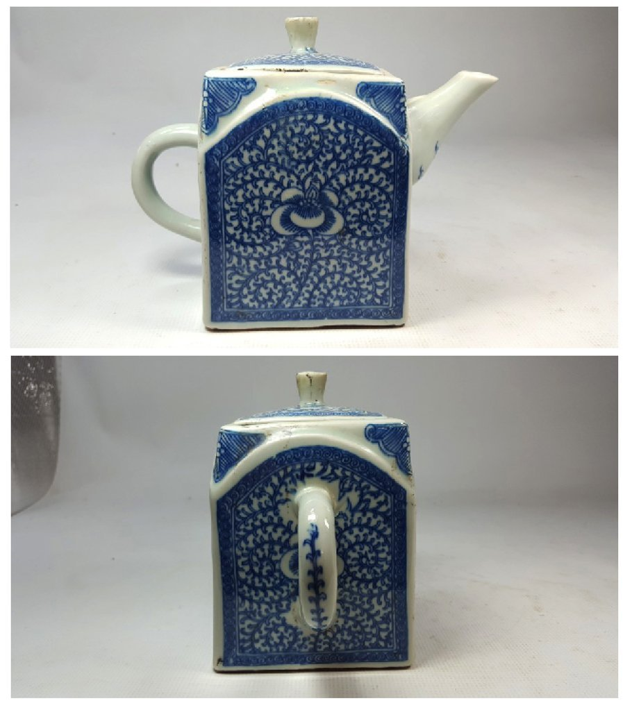 Chinese Blue and White Lotus Teapot - 5