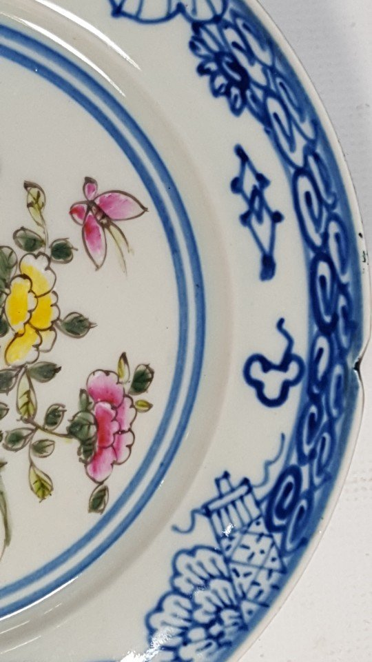 Chinese flower porcelain plate from Qing dynasty - 4