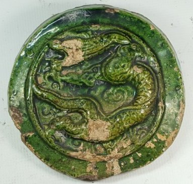 Chinese Green Glazed Dragon Pattern Tile