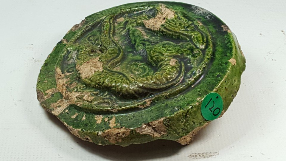Chinese Green Glazed Dragon Pattern Tile - 2