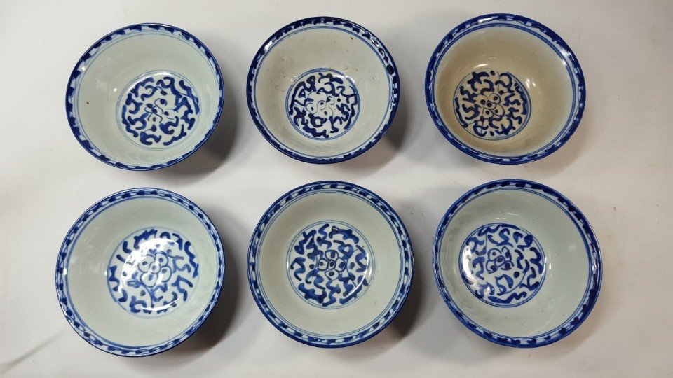 Chinese set of six bowls Qing dynasty