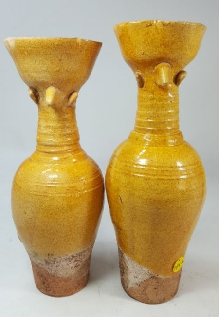 Chinese yellow wine bottle (Left) Liao dynasty